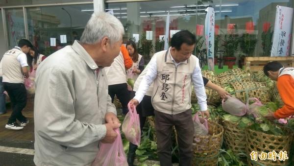 邱錫奎(右)在競選總部贈送高麗菜。(記者簡惠茹攝)