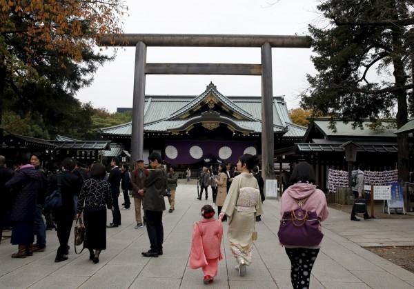 圖為日本東京千代田區的靖國神社。(資料照,路透)