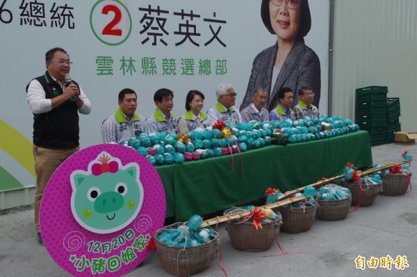 民進黨雲林縣競選總部共有1000多隻小豬回娘家。(資料照,記者林國賢攝)