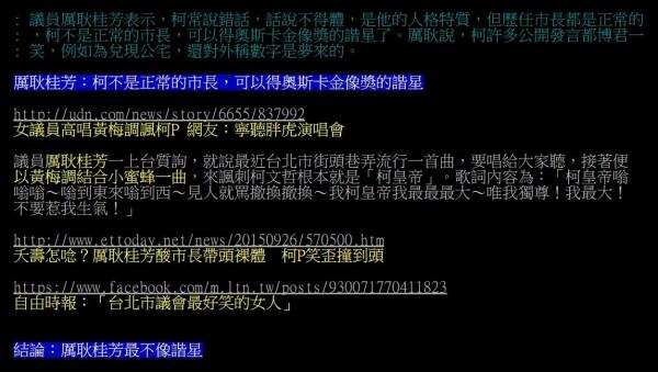 國民黨市議員厲耿桂芳則批評柯文哲「可以得奧斯卡金像獎的諧星」,也遭到網友打臉。(圖片擷取自批踢踢八卦版)