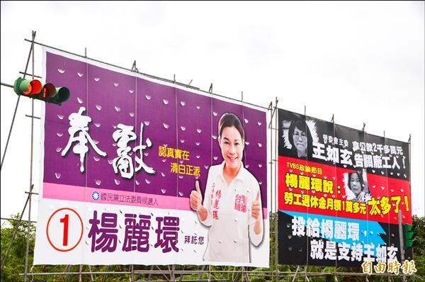 楊麗環指控看板汙衊她多年來替勞工爭取權益的努力。(記者鄭淑婷攝)