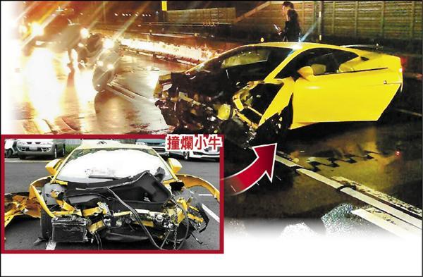 丁男打滑自撞護欄,價值1500萬的藍寶堅尼「小牛」,車頭近全毀。(記者曾健銘翻攝)