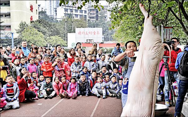 中國重慶市玉帶山小學一年級新生,在老師安排下,12月24日平安夜這天聚集在學校操場看屠夫「殺年豬」,殺豬師傅一邊解剖豬隻身體,一邊向學生講解;師生後方的大型標語寫著「我的美好童年」。老師說,在歲末安排這項活動是要「弘揚傳統節日和民俗文化」,同時「給大家提早過年」。但此事在社群媒體傳開後,大部分網友認為違反平安夜本意,也有媒體人批評中國教育有嚴重問題。(路透)