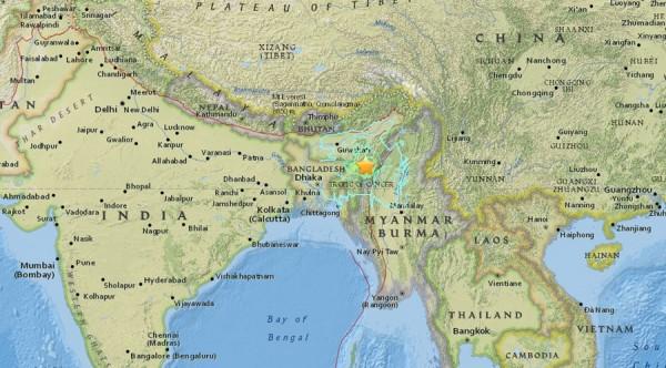 印度東北部在當地時間4日發生芮氏規模6.8的強震。(圖取自USGS)