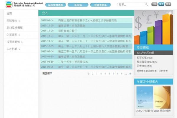 聯意製作(TVBS)今宣布,將由原股東利茂、德恩、連信3家投資公司,共同買下香港TVB集團旗下東方彩視所持有剩餘47%股權。(圖擷取自TVB官網)