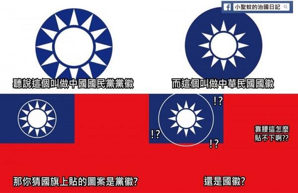 網友說明,國旗上的圖案是「黨徽」的原因,在於國旗藍色部分的空間根本「放不下國徽」!(圖取自小聖蚊的治國日記臉書)