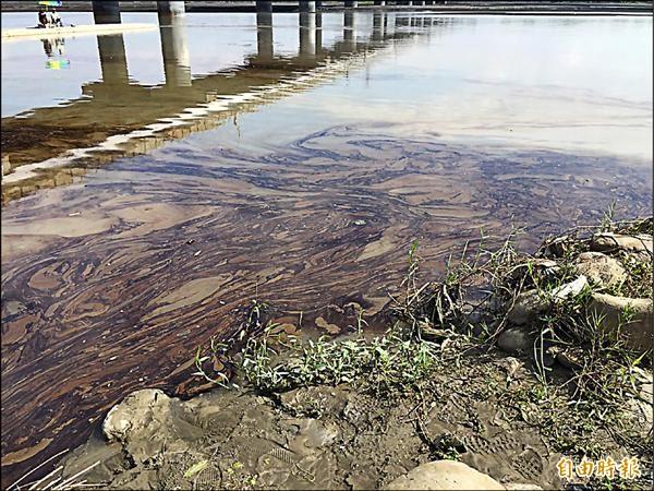 高屏溪遭無良工廠排油污染。 (記者黃旭磊攝)