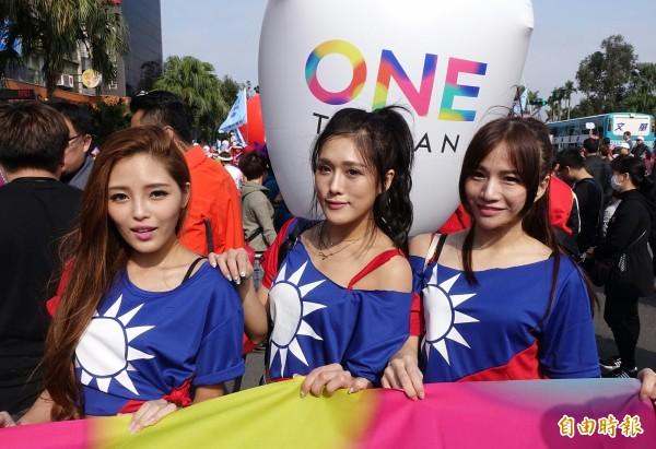 藍營選前最大場遊行造勢,下午2時登場,每個藍軍支持者都以國旗元素的裝扮、手持國旗參加。(記者方賓照攝)