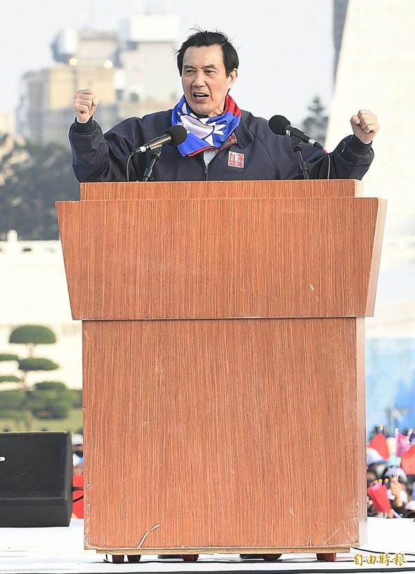 總統馬英九在今(9)日下午參與國民黨遊行活動,發言時表示「國民黨若不繼續執政,台灣安定有問題」。(記者陳志曲攝)