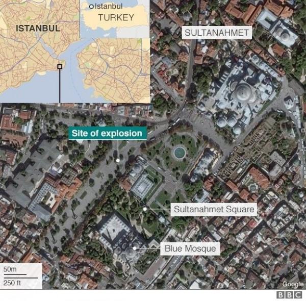 由於爆炸地點鄰近藍色清真寺(Blue Mosque),目前的死者包含了土耳其人及外國人,15名傷者有來自德國、挪威和南韓等國的旅客。(圖擷自BBC)