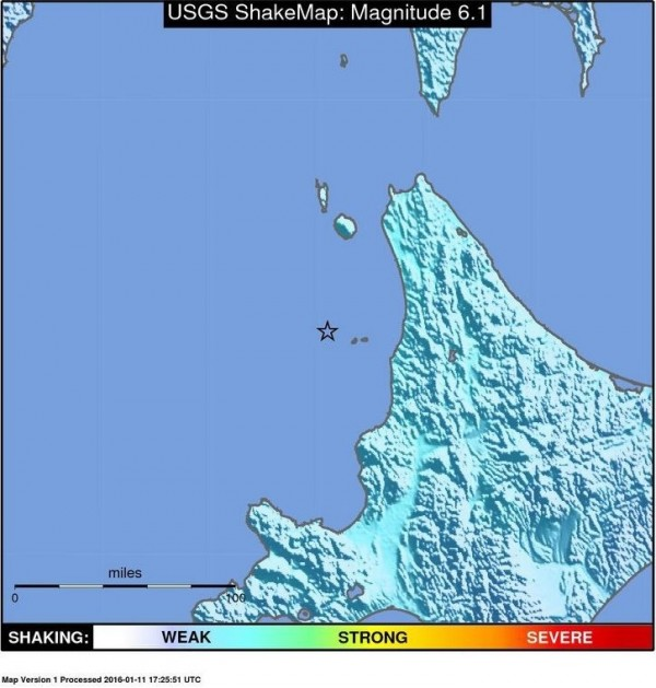 日本北海道今晨發生規模6.1強震。(法新社)