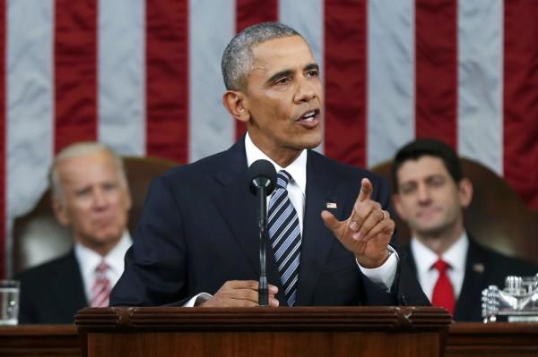 美國總統歐巴馬12日赴國會發表任內最後一次國情咨文。(路透)