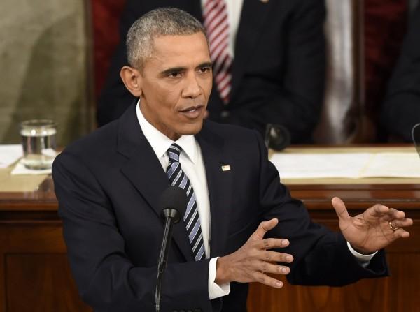 美國總統歐巴馬(Barack Obama)12日赴國會發表任內最後一次國情咨文。(法新社)