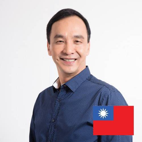 國民黨推出的候選人臉書大頭貼設計,右下角有醒目的國旗。(圖擷取自朱立倫臉書)