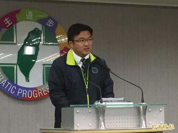 民進黨發言人楊家俍今天表示,縣市長是希望改變中南部區域發展失衡狀況,黨中央已經聽到相關意見,將整體考量。(記者陳慧萍攝)