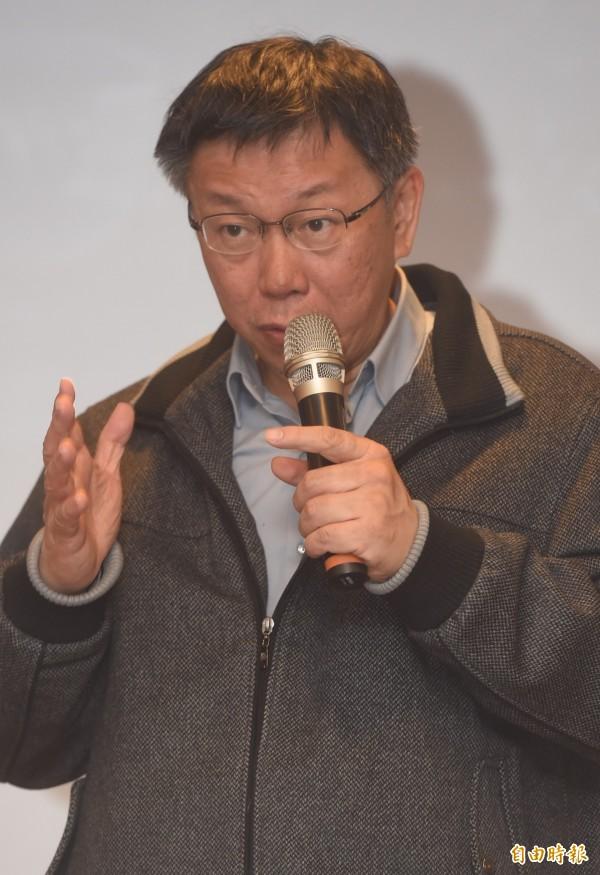 針對總統馬英九拋出由多數黨組閣的議題,台北市長柯文哲今批評馬此舉根本不負責任,還說別一直在他面前提馬英九。(記者簡榮豐攝)