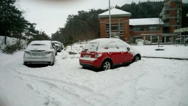 雪霸國家公園觀霧遊憩區下大雪,道路受阻,無法通行。(記者張勳騰翻攝)