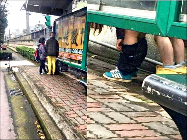 小情侶原先在新北市樹林這座公車亭等車,不久就躲到後面演出「四腳獸」(圖取自爆料公社,記者吳仁捷翻攝)