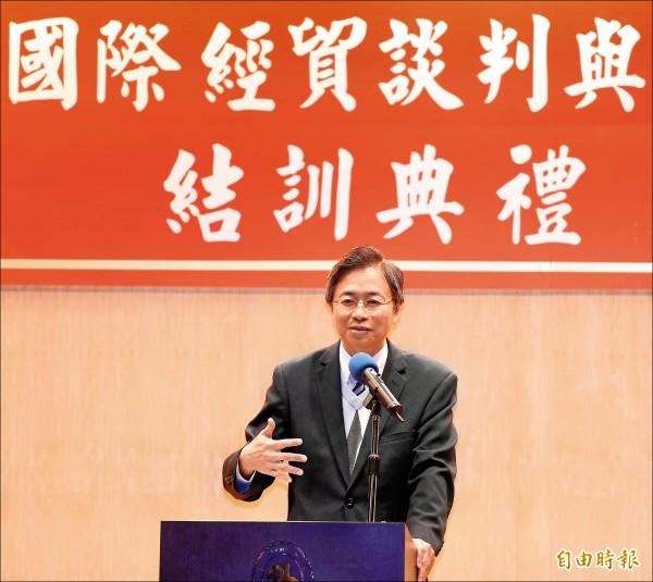 準閣揆張善政昨表示,貨貿不可能在他任內簽,簽的機率「非常、非常低」。(記者叢昌瑾攝)