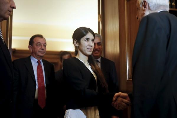 伊拉克雅茲迪族少女穆拉德(Nadia Murad)被挪威國會議員正式提名為諾貝爾和平獎候選人。(路透)
