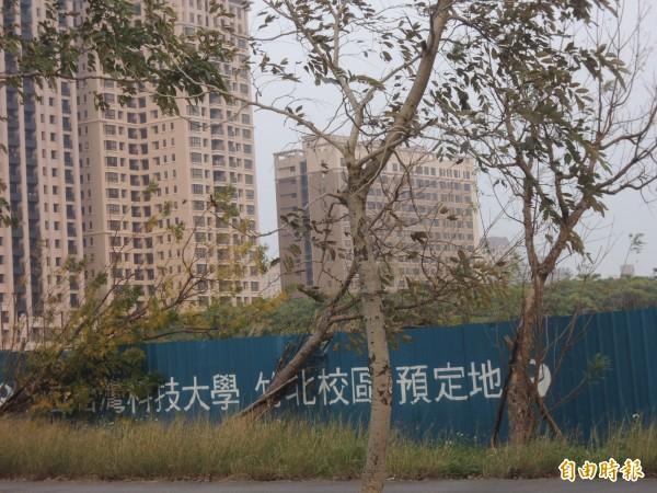 台科大竹北校區預定地由20公頃縮減為7公頃,另有10公頃將興建中國醫藥大學新竹附設醫院。(記者廖雪茹攝)