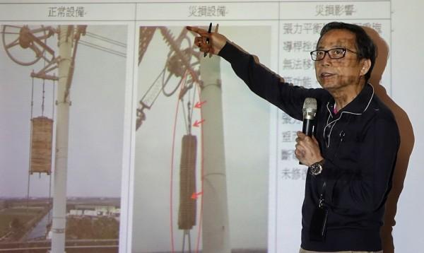 高鐵營運長陳強在晚間六點舉行記者會,說明高鐵因地震損壞搶修情形。(記者劉信德攝)