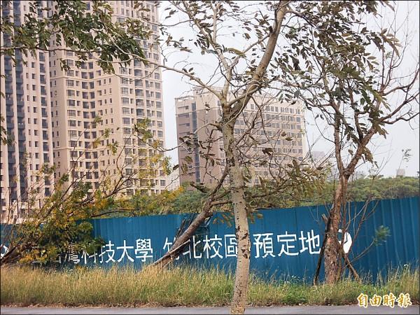 台科大竹北校區預定地由廿公頃縮減為七公頃,另有十公頃將興建中國醫藥大學新竹附設醫院。(記者廖雪茹攝)