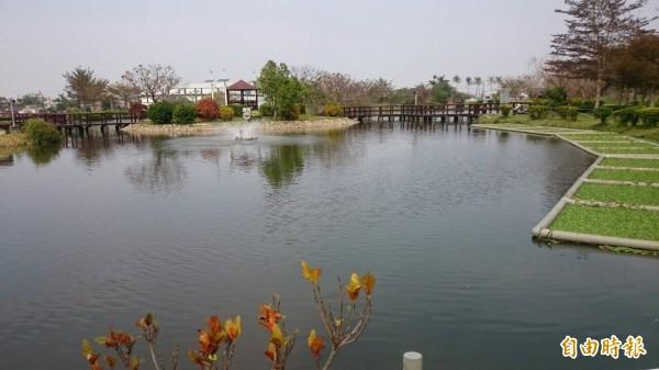 大林鎮美麗的明華溼地公園為慢城環保指標加分不少。(記者余雪蘭攝)