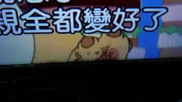 一名網友在家看電視,發現電視螢幕內竟有一群螞蟻。(圖擷自爆料公社)