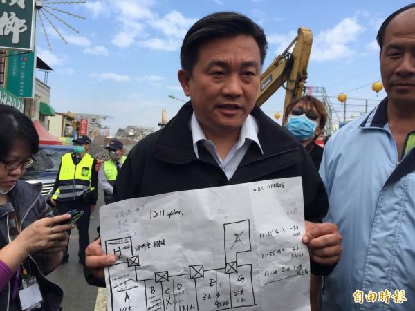民進黨立委王定宇在震災發生後,便抵達維冠現場協助相關事宜。(資料照,記者吳俊鋒攝)