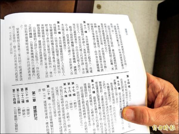 蘇金安翻開建築法,表示明文規定建築師設計監造要負完全責任。 (記者洪瑞琴攝)