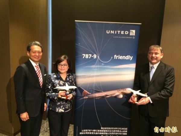聯合航空今天宣布今年3月28日起台北-舊金山將以波音787-9執飛。(記者甘芝萁攝)
