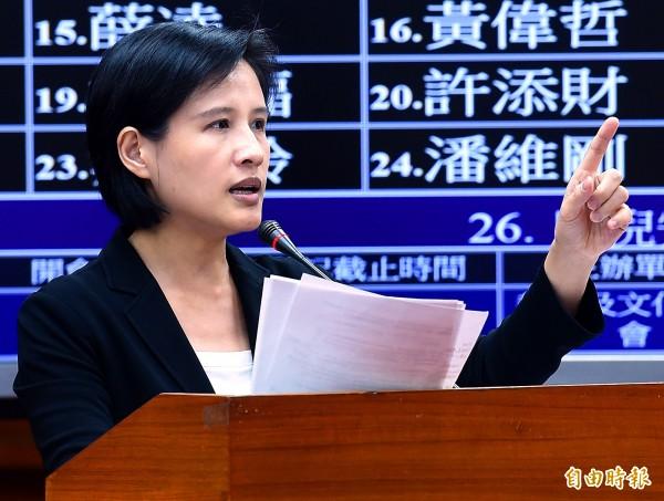 民進黨籍立委鄭麗君。(資料照,記者朱沛雄攝)