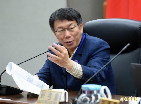 台北市長柯文哲26日主持交通安全會報,聽取報告並做裁示。(記者方賓照攝)