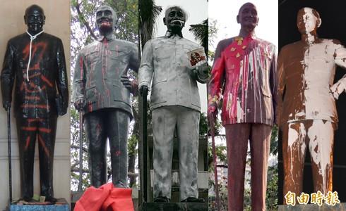 轉型正義訴求發酵,蔣介石銅像屢遭民眾噴漆或惡搞,對此《BBC中文網》報導認為,蔣介石在台灣已成為相當尷尬的存在。(本報合成)