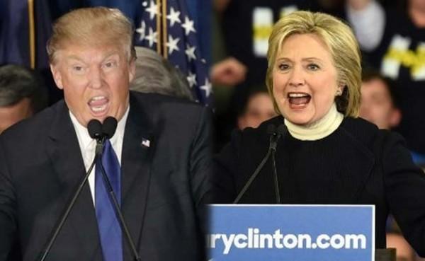 美國兩大黨總統初選結果目前顯示,共和黨川普(左)和民主黨希拉蕊(右)各自拿下多州,代表兩黨「出線」問鼎白宮機率大增。(NDTV)
