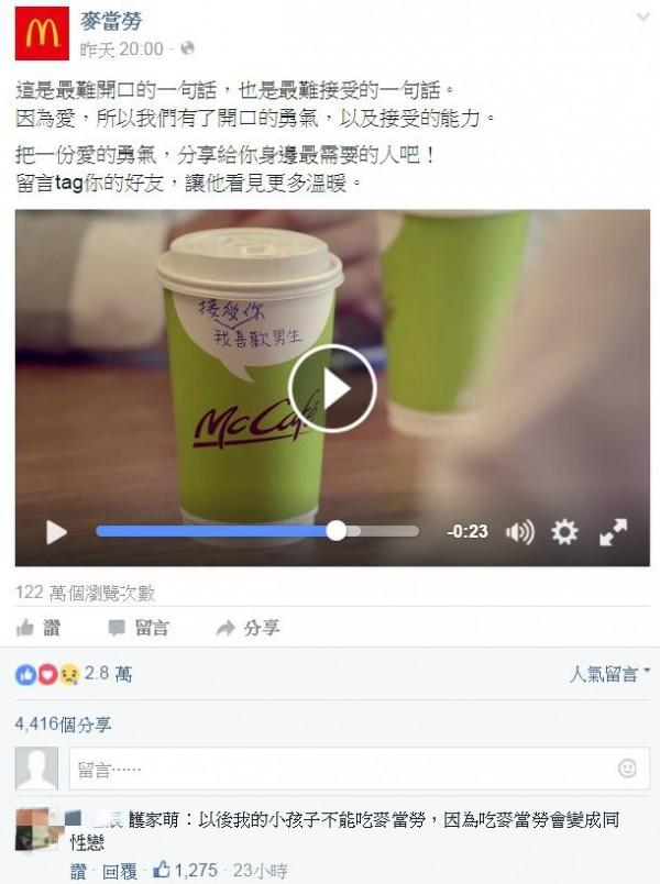在麥當勞昨天釋出這支廣告時,就有網友在臉書大虧護家盟,「護家萌:以後我的小孩子不能吃麥當勞,因為吃麥當勞會變成同性戀。」。(圖片擷取自麥當勞臉書)