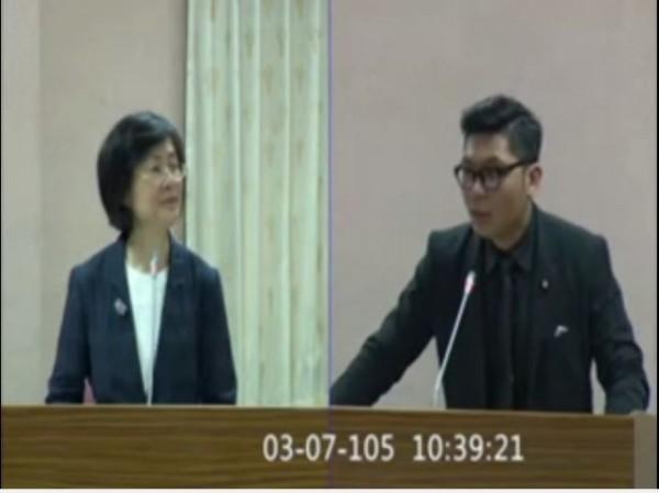 許毓仁(右)的PTT澄清文遭鄉民們「噓爆」,有人更找出質詢影片來打臉,可見許毓仁確實說出「監控」兩字,讓此事越演越烈。(圖擷取自影片)