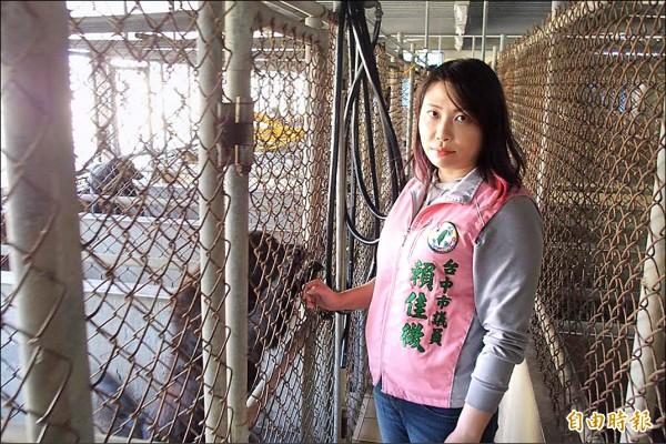市議員賴佳微要求市長林佳龍確保后里動物之家改建案可以如期完成。(記者蘇金鳳攝)