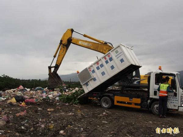 台東垃圾皆運往各鄉鎮的垃圾掩埋場,部分掩埋場幾乎達到飽和階段。(記者王秀亭攝)