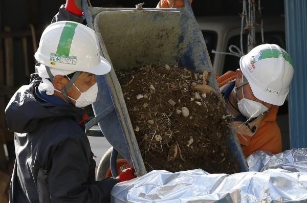福島核災後,土壤遭放射性物質污染,數千短期工進入災區協助去污作業。(美聯社)