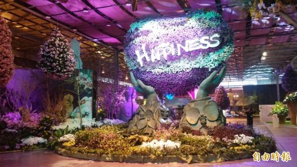 台灣國際蘭展美景佈置。(記者楊金城攝)