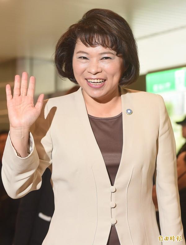 國民黨主席補選政見會12日舉行,黨主席參選人黃敏惠在會中發表個人政見。(記者廖振輝攝)