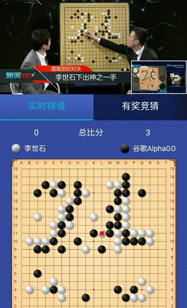南韓圍棋王者李世石在與Google人工智慧系統AlphaGo的第4戰中,於78手神來一筆,讓AlphaGo後勢潰敗。(圖擷自PTT)