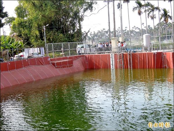 八卦山旱灌計畫中的名間鄉赤水地區蓄水池已完工,但納管問題仍有待解決。(記者謝介裕攝)