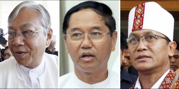 廷覺(左)取得360票高票當選總統,軍方提名的敏瑞(中)拿下213票,NLD的欽族議員亨利班提育(右)則是79票,兩人將成為第一、第二副總統。(美聯社)