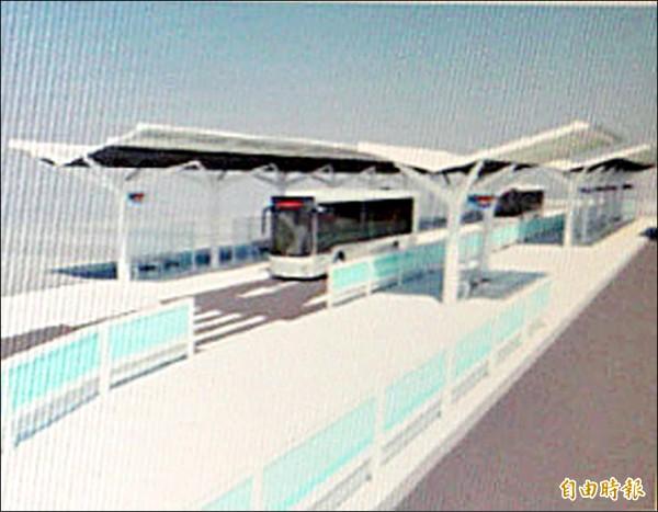 都發局副局長張剛維表示,候車亭的遮雨棚形式經過多次討論,委員會認為這次設計比較好,讓乘客有充足的人行空間。 (記者鍾泓良攝)