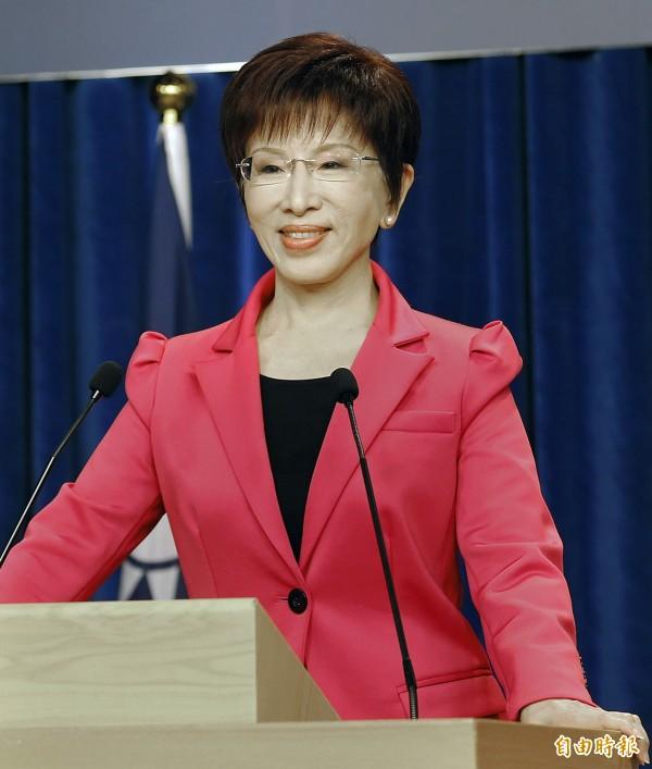 國民黨黨主席補選電視政見發表會,候選人洪秀柱在第一輪發言。(記者廖振輝攝)