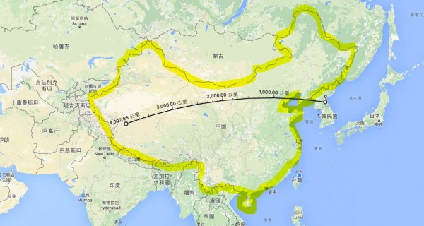 北韓恐試射的新型中程彈道「舞水端」飛彈,射程可涵括中國全境。(圖擷取自GOOGLE MAP)