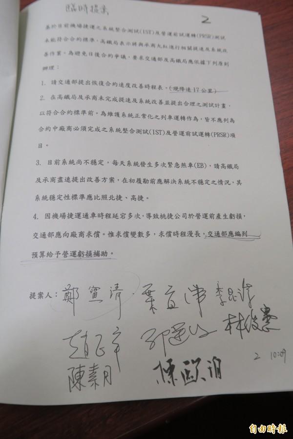 民進黨立委鄭寶清今天在交通委員會針對桃園機場捷運的臨時提案內容。(記者甘芝萁攝)
